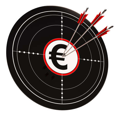 Euro Target Showing Wealth Currency And Prosperity In Europe Stock Photo - 18271160