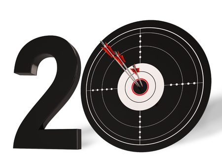 twentieth: 20 Target Showing Anniversary Or Twentieth Birthdays Celebration Stock Photo