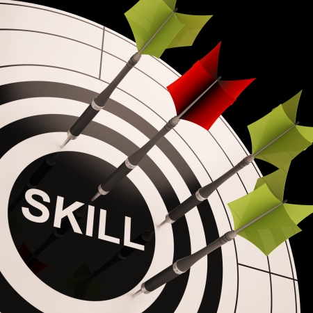gained: Skill On Dartboard Shows Gained Skills Or Obtained Abilities Stock Photo