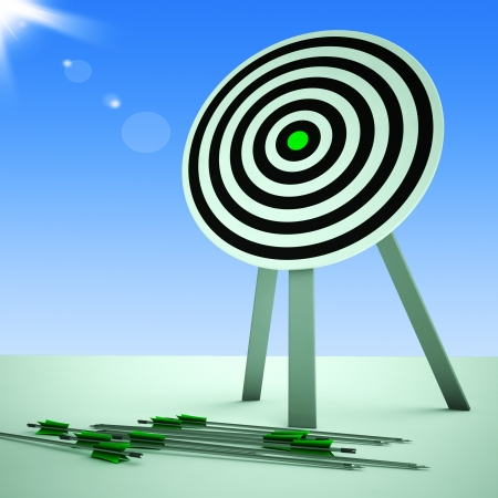 ineffective: Arrows On Floor Shows Bad Aiming And Inaccurate Shooting Stock Photo