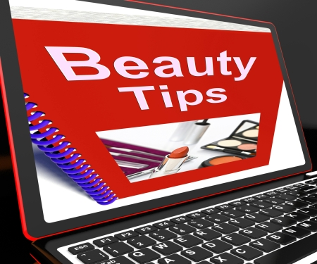 hints: Beauty Tips On Laptop Showing Makeup Hints And Guidance