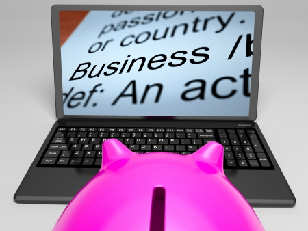 definitions: Business Definitions On Laptop Shows Monetary Transactions And Commercial Activities