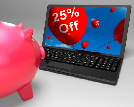 Twenty-Five Percent Off On Laptop Shows Discounts And Special Deals Stock Photo - 18271341