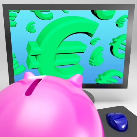 Euro Symbols On Monitor Shows European Monetary Growth And Prosperity Stock Photo - 18271200