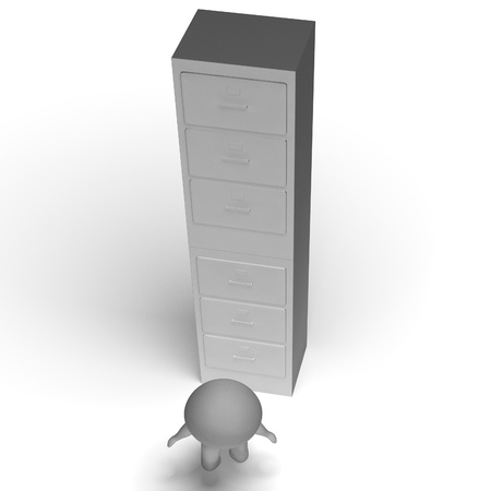 High Filing Cabinet Shows Overworked And Overloaded Stock Photo - 18271149