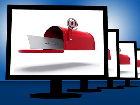 Mailbox On Monitors Shows Digital Correspondence Or Delivered Emails Stock Photo
