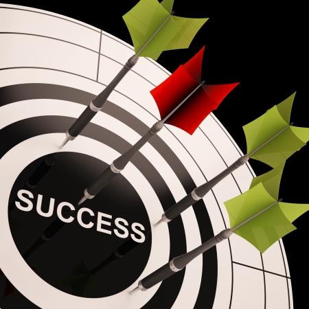 accomplishments: Success On Dartboard Shows Successful Goals Or Accomplishments Stock Photo