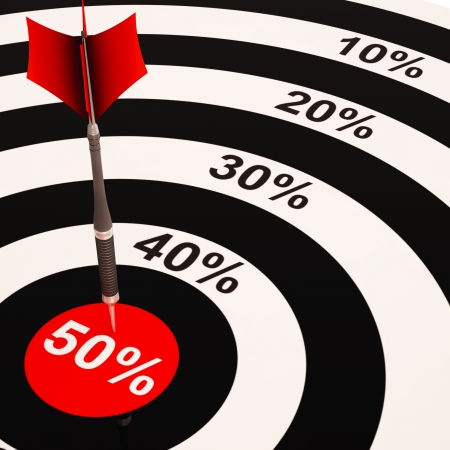 50Percent On Dartboard Shows Big Savings And Promotions Stock Photo - 18271104