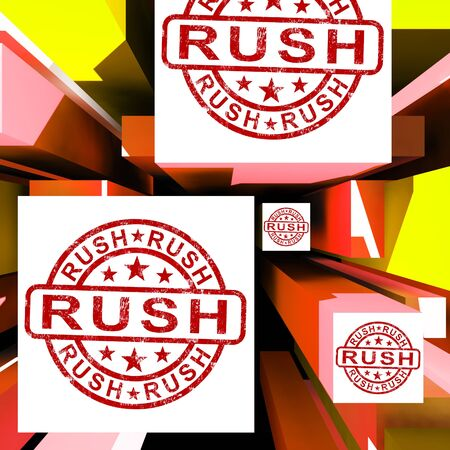 dispatch: Rush On Cubes Showing Express Delivery And Quick Dispatch Stock Photo