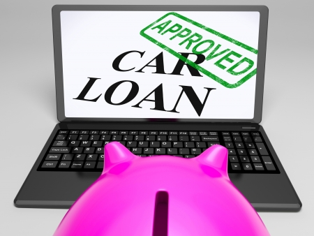 Car Loan Approved On Laptop Showing Confirmation Or Approval Stock Photo - 18271319