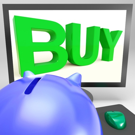 Buy On Monitor Shows Shopping And Consumerism Stock Photo - 18271196