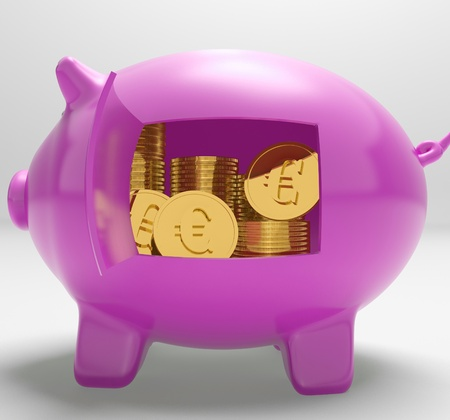 Euros In Piggy Showing Currency And Investment In Europe Stock Photo - 18271327