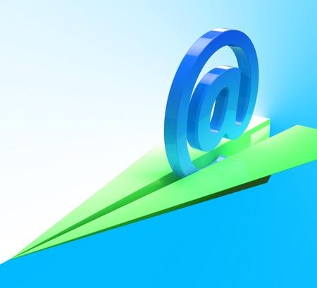 mailing: At Sign Aeroplane Showing Web Mailing Communication