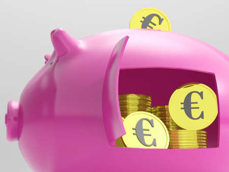 Euros In Piggy Showing Currency And Investment In Europe Stock Photo - 18407883