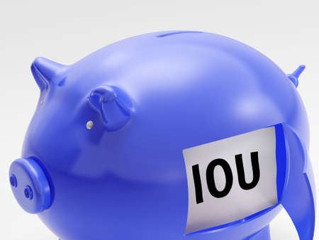 IOU In Piggy Showing Unemployment Debts And Recession
