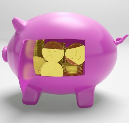 Pounds In Piggy Showing UK Profit Investment And Prosperity Stock Photo - 18407755