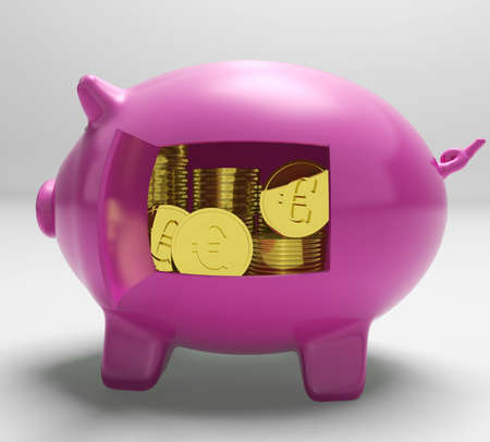 Euros In Piggy Showing Wealth And Success Stock Photo - 18407814