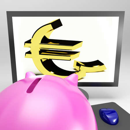 Euro Symbol Screen Showing Currency And Investment In Europe Stock Photo - 18407404