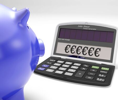 Euros Calculator Showing Currency And Investment In Europe Stock Photo - 18407834