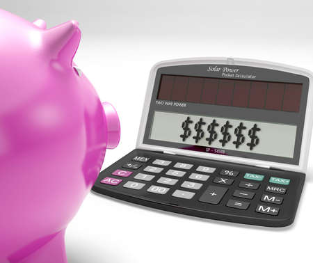Dollars In Calculator Showing Rich American Fortune Stock Photo - 18407809