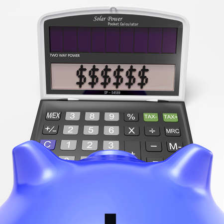 Dollars In Calculator Showing Wealth And Security Stock Photo - 18407753