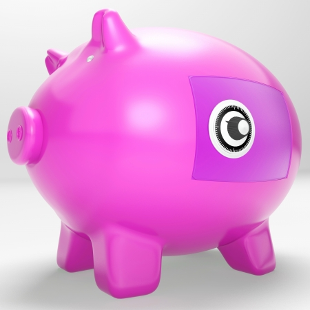 Safe Piggy Showing Secure Savings Locked Closed Stock Photo - 18407557