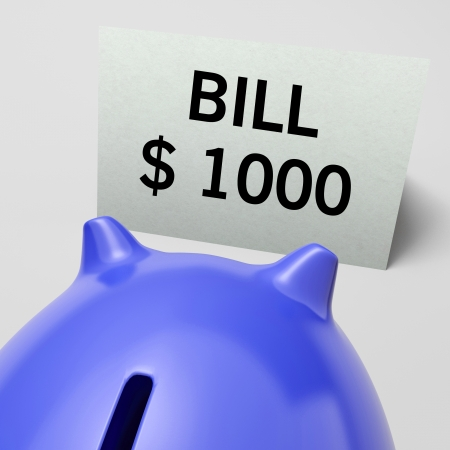 accounts payable: One Thousand dollars, usd Bill Showing Expensive Taxes Or Debts Stock Photo