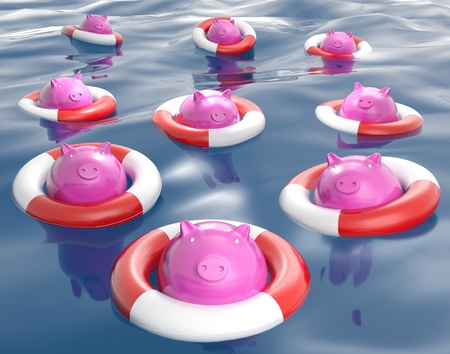 bank protection: Piggybanks On Lifesavers Showing Monetary Help Or Loans Stock Photo