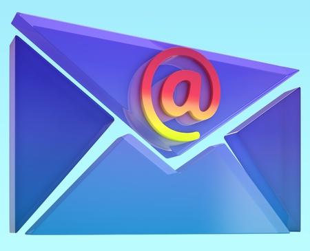 mailing: Envelope At Sign Showing Online Mailing Communication