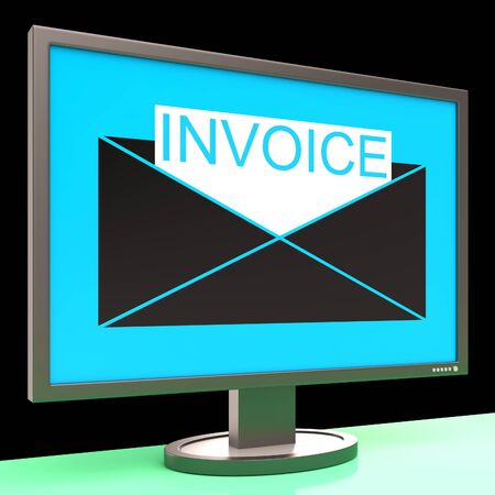 accounts payable: Invoice In Envelope On Monitor Showing Sending Payments Or Bills Stock Photo