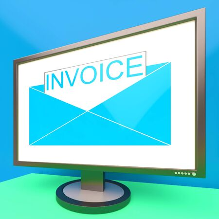 accounts payable: Invoice In Envelope On Monitor Showing Due Payments And Debts