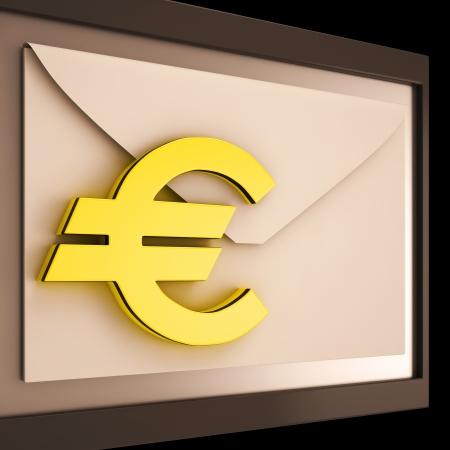 remit: Euro On Envelope Showing Money Exchange Or European Post