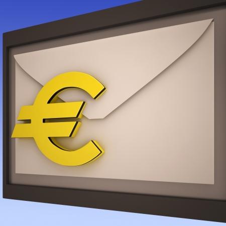 remit: Euro On Envelope Shows European Correspondence Or International Mailing Stock Photo