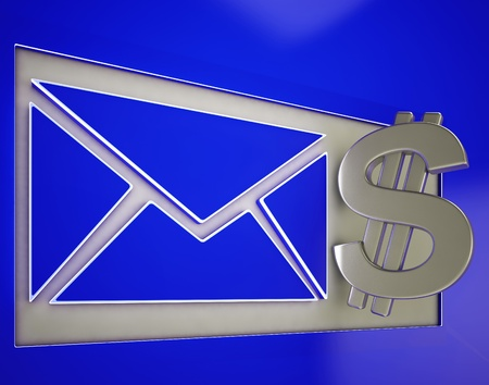 remit: Dollar On Envelope Showing Money Delivery Or American Post