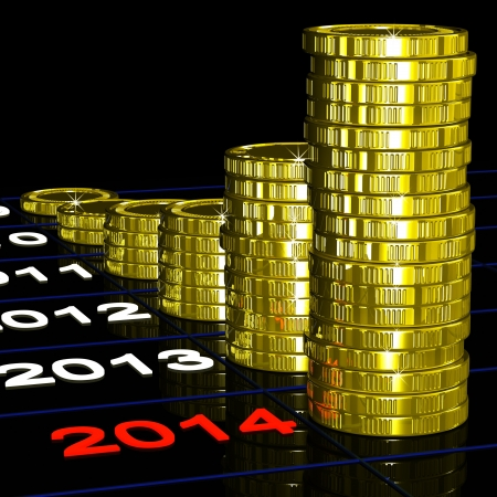 expectations: Coins On 2014 Shows Financial Expectations Or Goals Stock Photo