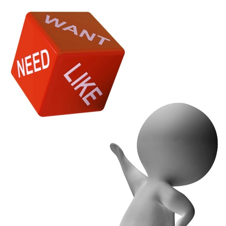 likes: Need Want And Like Dice Shows Desires Stock Photo