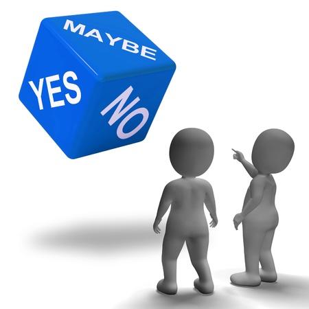 incertezza: Forse S� No dadi che rappresentano l'incertezza e le decisioni