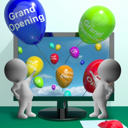Grand Opening Balloons Shows New Online Store Launch  Stock Photo - 18407654