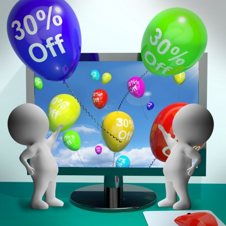 Balloons From Computer Show Sale Discount Of Thirty Percent Stock Photo - 18407768