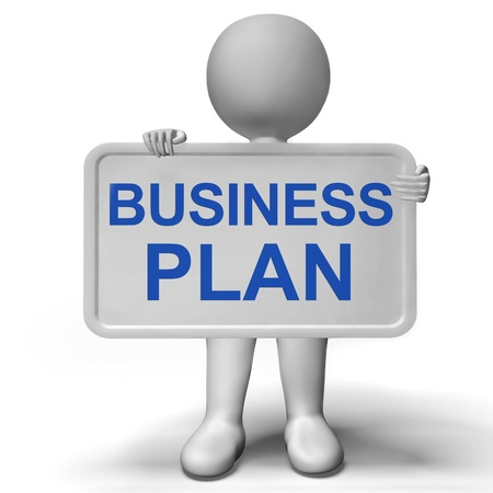 Business Plan Sign Shows Mission And Organizing