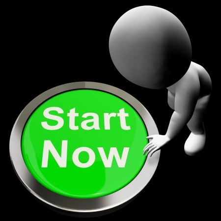 Start Now Button Meaning To Commence Immediately Banco de Imagens - 18407257