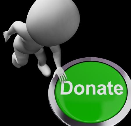 gifting: Bot�n Donar Mostrando donaci�n de caridad y recaudaci�n de fondos Foto de archivo