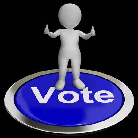 Vote Button Shows Options Voting Or Choice Stock Photo - 18407268