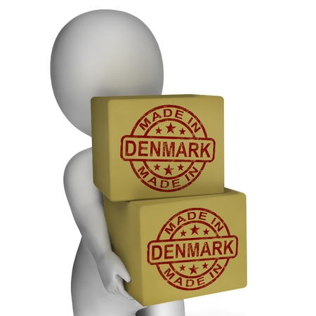 Made In Denmark Stamp On Boxes Showing Danish Products photo