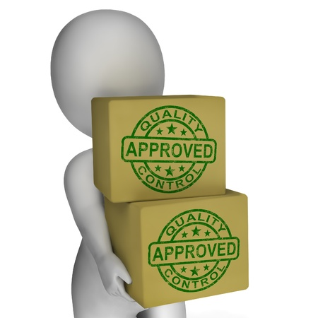 Quality Control Approved Stamps Shows Excellent Products Stock Photo - 18407223