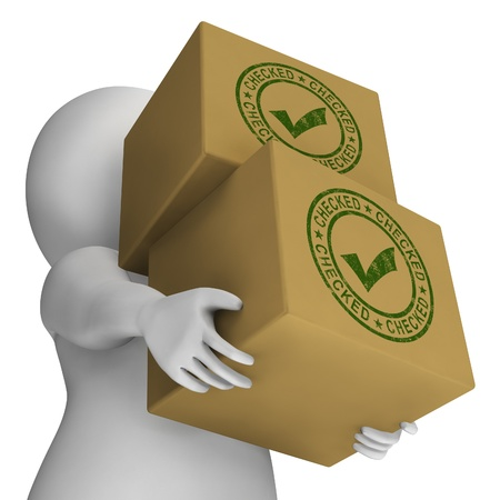Checked Stamp With Tick On Boxes Showing Quality Stock Photo - 18407445
