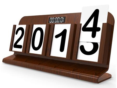 Desk Calendar Representing Year Two Thousand Fourteen Stock Photo