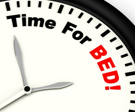 overtired: Time for Bed  Shows Insomnia Or Tiredness Stock Photo