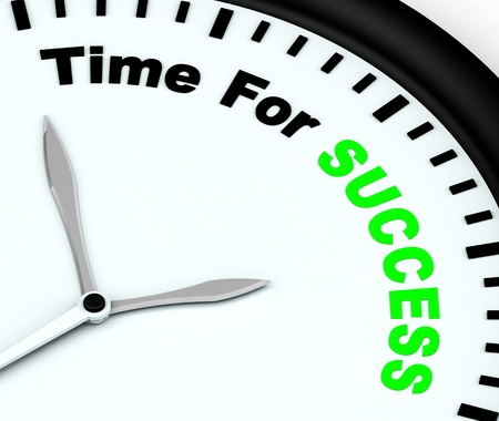 prevail: Time For Success Message Shows Victory And Winning