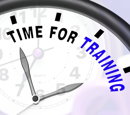 instructing: Time For Training Message Shows Coaching And Instructing